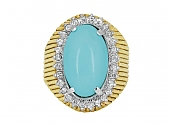 Turquoise and Diamond Ring in 18K