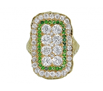 Edwardian Diamond and Demantoid Garnet Ring in 14K Gold