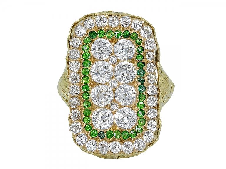 Video of Edwardian Diamond and Demantoid Garnet Ring in 14K Gold
