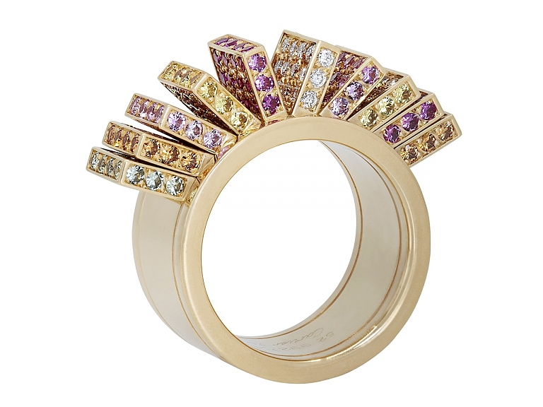 Video of Cartier 'Collection Délices de Cartier' Sapphire and Diamond Fan Ring in 18K Gold