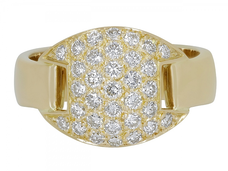Video of Hermès Diamond Band Ring in 18K Gold, Size 54