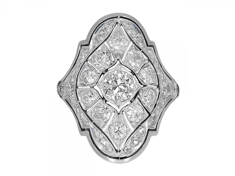 Video of Antique Edwardian Elongated Diamond Ring in Platinum