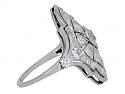 Antique Edwardian Elongated Diamond Ring in Platinum