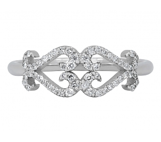 Rhonda Faber Green Double Diamond Scroll Heart Ring in 18K White Gold