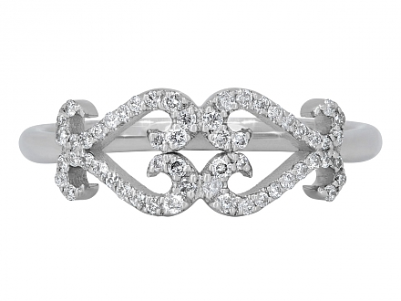 Rhonda Faber Green Double Diamond Scroll Heart Ring in 18K White Gold