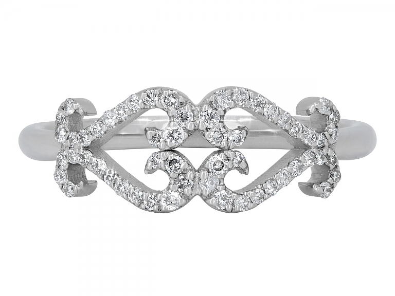 Video of Rhonda Faber Green Double Diamond Scroll Heart Ring in 18K White Gold