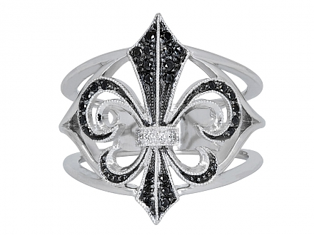 Rhonda Faber Green Black and White Diamond Fleur-de-lis Ring in 18K