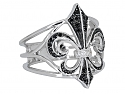 Rhonda Faber Green Black and White Diamond Fleur-de-lis Ring in 18K