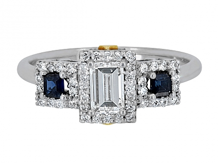 Step-cut Diamond and Sapphire Ring in 18K, designed by Rhonda Faber Green