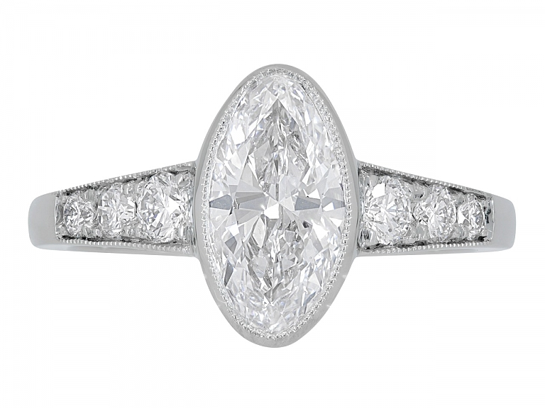 Video of Beladora 'Bespoke' Moval Diamond Ring, 1.44 carat D/SI-1, in Platinum