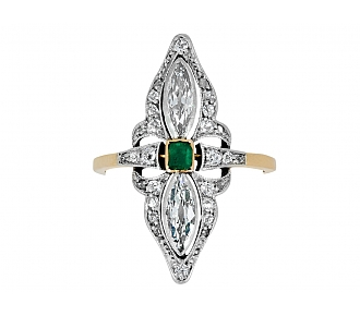 Antique Edwardian Emerald Ring in Platinum over 18K Gold