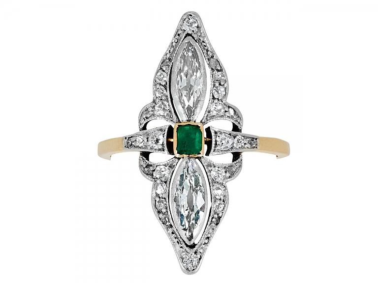 Video of Antique Edwardian Emerald Ring in Platinum over 18K Gold