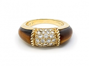 Van Cleef & Arpels 'Philippine' Tiger's Eye and Diamond Ring in 18K