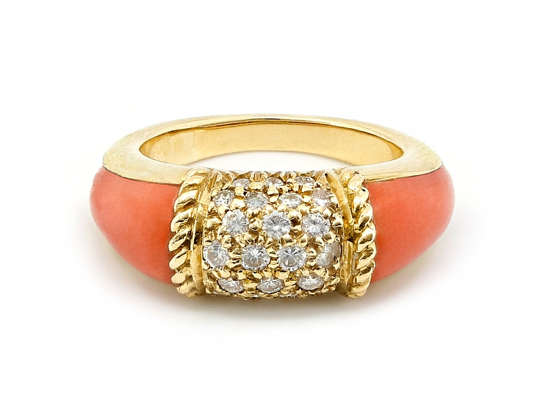 Video of Van Cleef & Arpels 'Philippine' Coral and Diamond Ring in 18K Gold