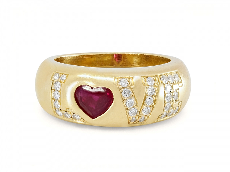 Video of Chopard Ruby and Diamond 'Love' Ring in 18K Gold