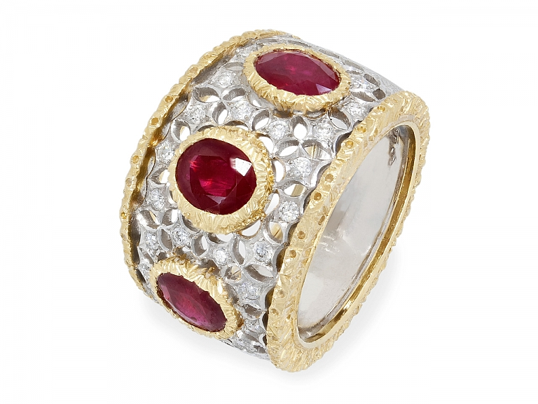 Video of Buccellati Ruby and Diamond Ring in 18K White Gold