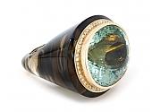 Sanalitro Aquamarine, Smokey Quartz and Diamond Ring in 18K Gold