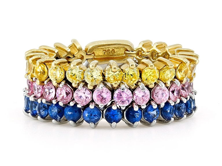Video of Flexible Yellow, Pink and Blue Sapphire Band in 18K Gold