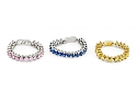 Flexible Yellow, Pink and Blue Sapphire Band in 18K Gold