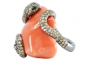 Lorraine Schwartz Coral and Diamond Snake Ring
