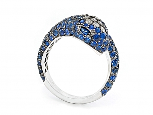 Sapphire and Diamond Snake Ring in 18K White Gold