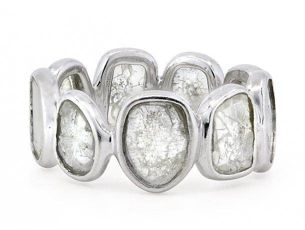 Diamond Slice Band in 18K White Gold