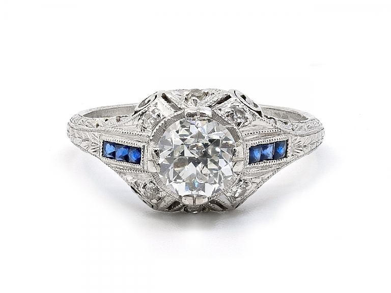 Video of Art Deco Transitional-cut Diamond, 1.08 carat, and Sapphire Ring in Platinum