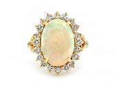 Diamond and Opal Ring in 14K Gold