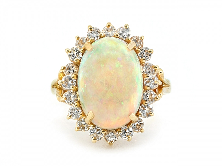 Video of Diamond and Opal Ring in 14K Gold