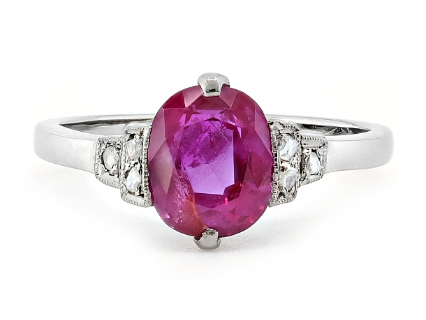 Art Deco Burma Unheated Ruby, 1.63 carat, and Diamond Ring in Platinum