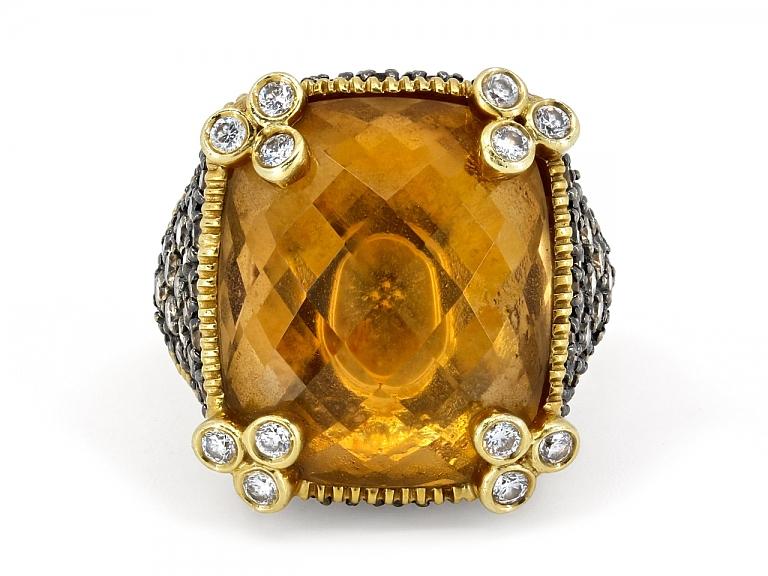 Video of Judith Ripka 'Monaco' Diamond and Citrine Ring in 18K