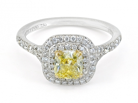 Tiffany & Co. Yellow Diamond Ring in Platinum, 0.74 Carat Fancy Intense Yellow