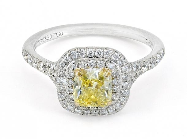 Tiffany & Co. Yellow Diamond Ring in Platinum, 0.74 Carat Fancy Intense Yellow
