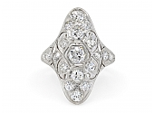 Edwardian Diamond Filigree Ring in Platinum
