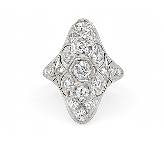 Edwardian Diamond Filigree Ring in Platinum