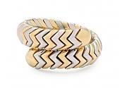 Bulgari 'Spiga' Ring in 18K Gold and Steel