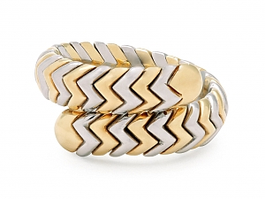 Bulgari 'Spiga' Ring in 18K Gold and Steel