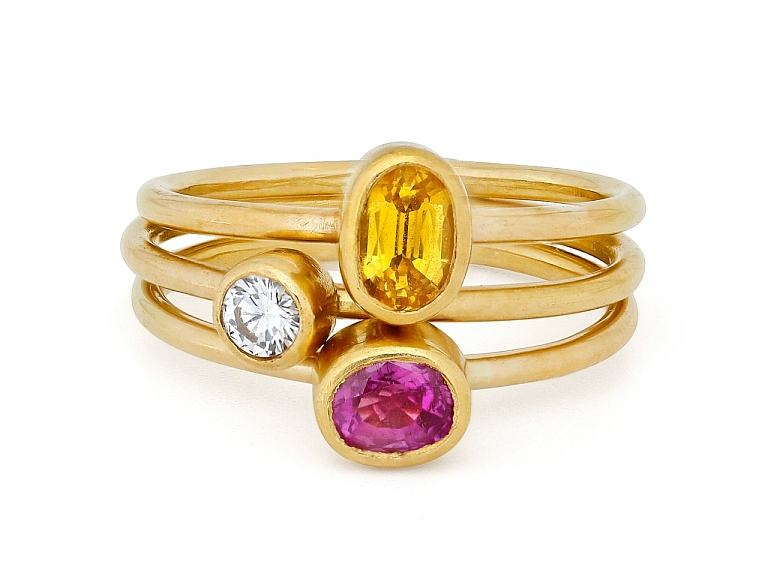 Video of Set of 3 Diamond, Pink Tourmaline and Citrine Rings in 22K Gold