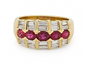 Fred Ruby and Diamond Ring in 18K Gold