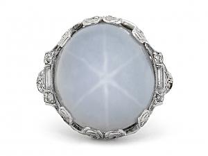 Art Deco Light Gray Star Sapphire Diamond Ring in Platinum