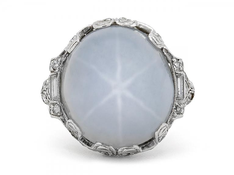 Video of Art Deco Light Gray Star Sapphire Diamond Ring in Platinum