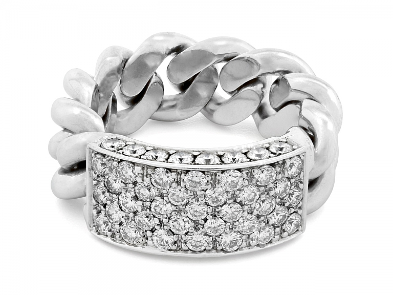 Video of Chain Link Ring with Diamond Plaque, in 18K White Gold