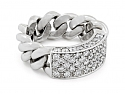 Chain Link Ring with Diamond Plaque, in 18K White Gold