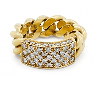 Chain Link Ring with Diamond Plaque, in 18K Gold
