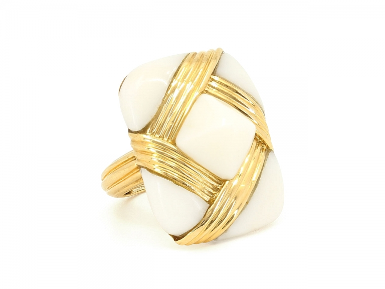 Video of White Coral Ring in 18K Gold