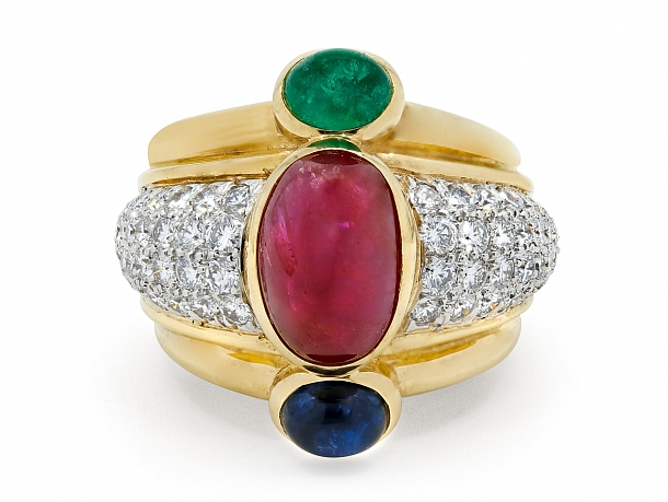 David Webb Ruby, Emerald, Sapphire and Diamond Ring in 18K Gold