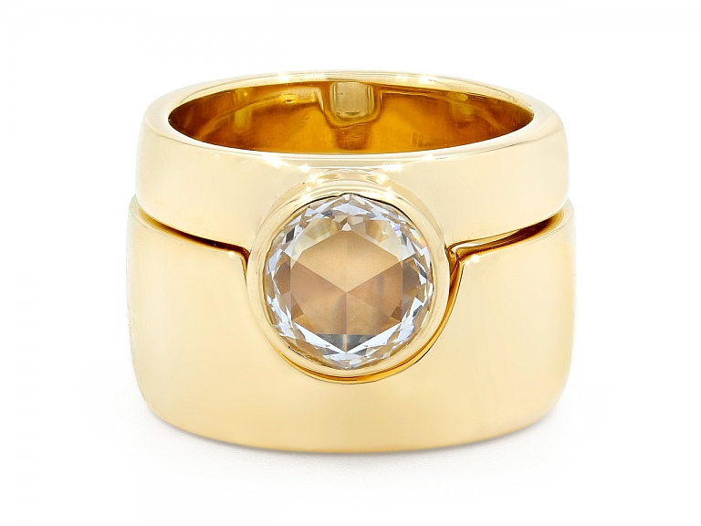 Video of Jacqueline Rabun Rose-cut Diamond 'We Ring', 1.58 ct E/VS1, and Band in 18K Gold