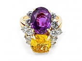 Oscar Heyman Yellow and Purple-Pink Sapphire Ring in 18K Gold
