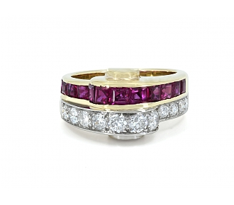 Retro Ruby and Diamond Ring in 18K Gold