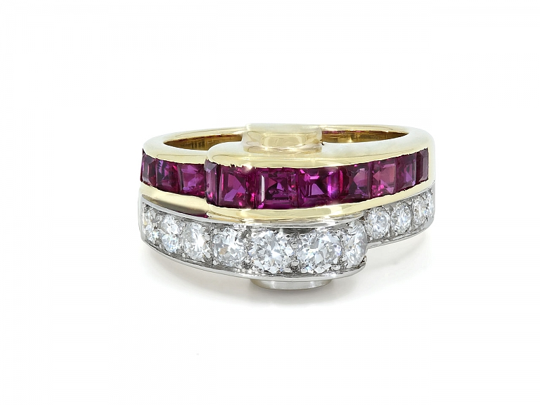 Video of Retro Ruby and Diamond Ring in 18K Gold